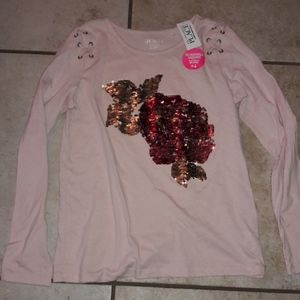 Girls sz XL Children's place sequin shirt NWT